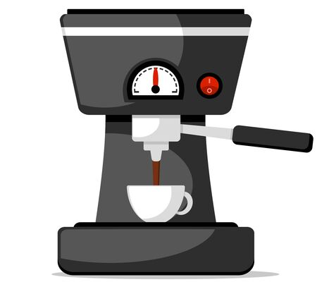 Coffee brewing machine pours fresh coffee into a cup