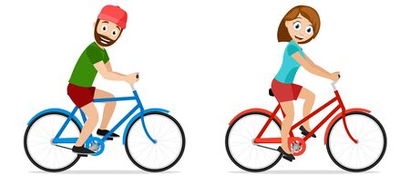 Man and woman ride bicycles on a white background. Cycling, healthy lifestyle 일러스트