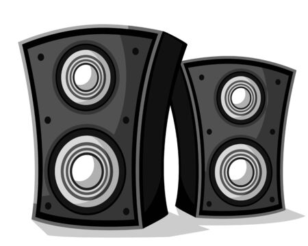 Two music speakers close-up on a white background