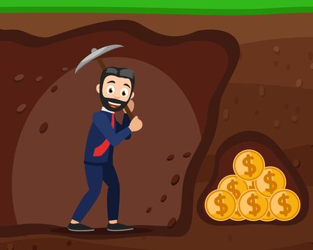 Businessman digging ground a tunnel to the money. Motivation, goal achievement