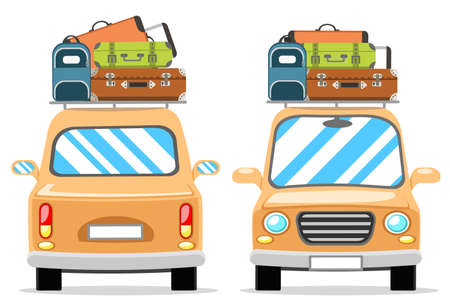 Set of cars with luggage on the roof on a white background 일러스트