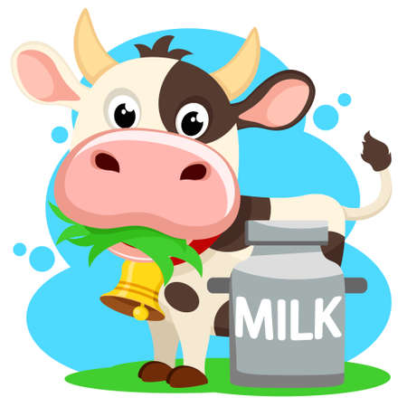 Cow chewing grass and a can of milk on a white background  イラスト・ベクター素材