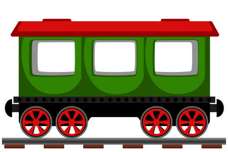 Passenger carriage on the railway on a white background