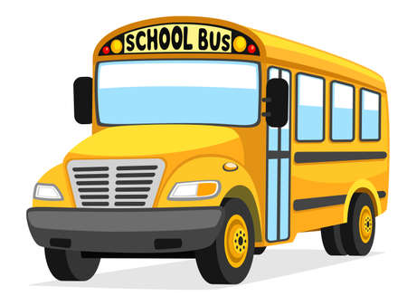 Yellow school bus close up on white background, isolated Ilustración de vector