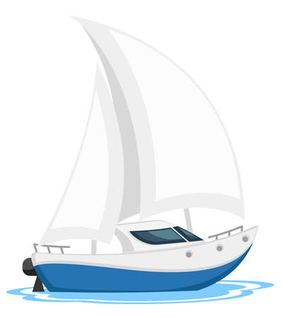Yacht sailing in water on white background, isolated Stock Illustratie