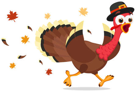 A turkey in a hat runs and shouts on a white background. Thanksgiving day