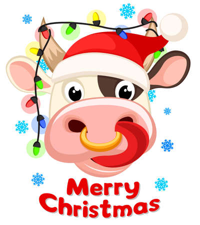 The head of a bull with a protruding tongue and a New Year s garland between the horns on a white background. Happy new year 2021. Bull christmas