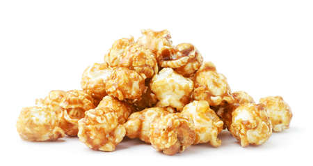 Heap of caramelized popcorn close-up on a white plate. Isolated Stok Fotoğraf