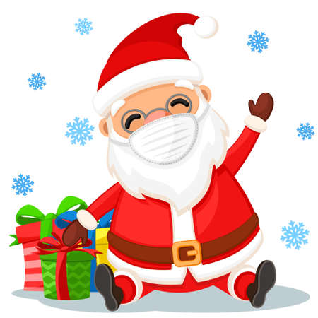 Santa Claus in a medical face mask with gifts sits on a white background. Happy New Year and Merry Christmas
