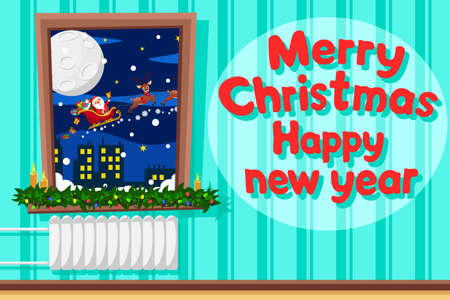 Santa Claus in a sleigh with reindeer and gifts flies outside the window, save space. Happy New Year and Merry Christmas Çizim