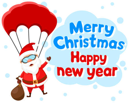 Santa Claus with a bag of gifts and a parachute on a white background. Happy New Year and Merry Christmas