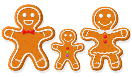 Gingerbread family dad, mom and baby on a white background, character. Merry christmas and happy new year