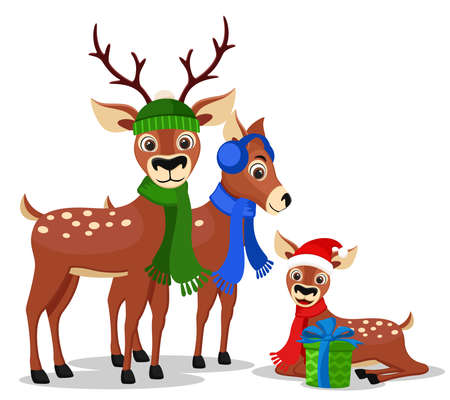 Deer family in hats and scarves, character. Merry Christmas