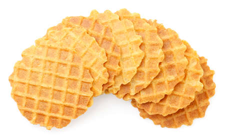 Italian thin and crispy waffles on white background, isolated wafers. The view from top