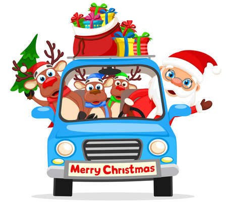 Santa Claus and reindeer are driving a car with a bag of gifts and a Christmas tree. Merry christmas and a happy new year