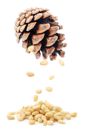 Pine nuts falling from a pine cone on a heap on a white background. Isolated