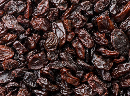 Raisins close up background. The view from top