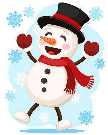 Snowman jumping and smiling, character. Merry christmas and a happy new year
