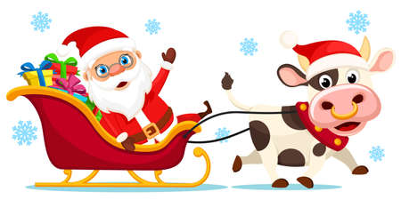 Santa Claus in a sleigh with gifts rides with a bull. Merry christmas and a happy new year
