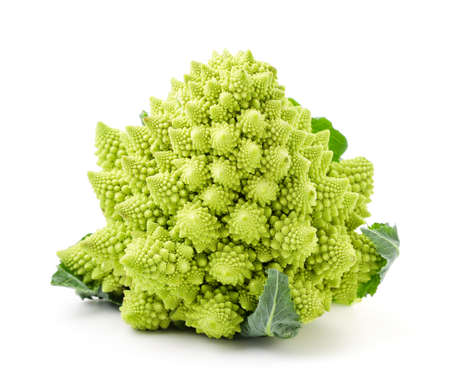 Romanesco cabbage close-up on a white background. Isolated Stok Fotoğraf