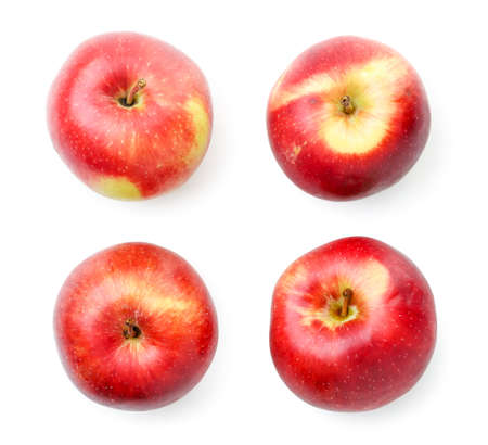 Set of red apples close up on white background, isolated. The view from top Stok Fotoğraf