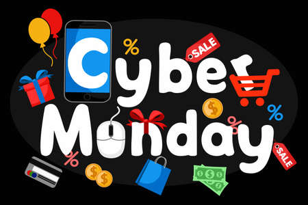 Cyber Monday text with smartphone, gifts and purchases on black background.