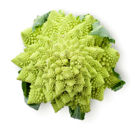 Romanesco cabbage close up on white background, isolated. The view from top