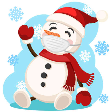 Snowman in face mask, hat and scarf sits and waves, coronavirus concept. Merry Christmas and Happy New Year