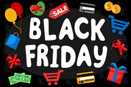 Black Friday text with different icons on a black background. Sale banner Çizim