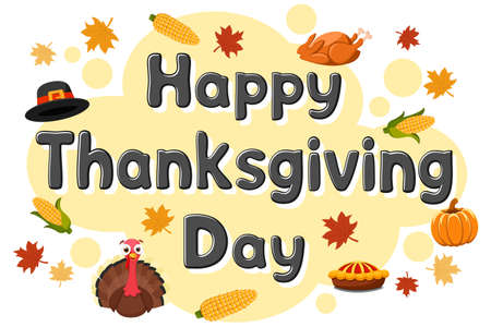 Thanksgiving day background, text with turkey bird and pumpkin on white background. Place for text