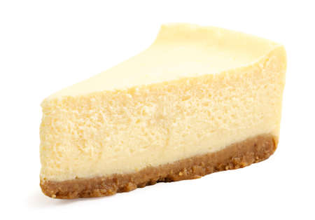 Cheesecake slice close-up on a white background. Isolated