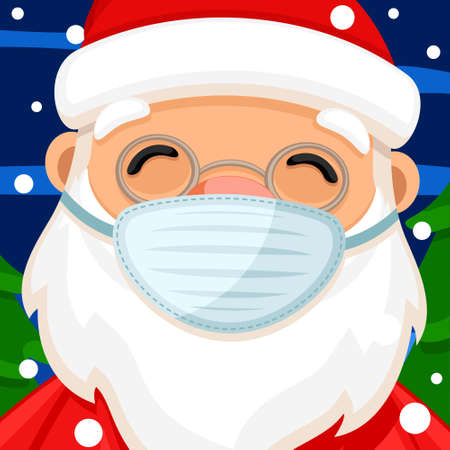 Santa claus in a medical mask close up. Merry christmas and new year Çizim