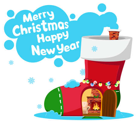 Christmas boot in the form of a house with a fireplace. Place for text