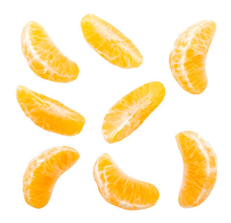 Mandarin slices set of foreshortenings close-up on a white background. Isolated Stok Fotoğraf