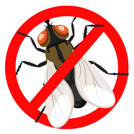 Stop fly insect in a red sign.