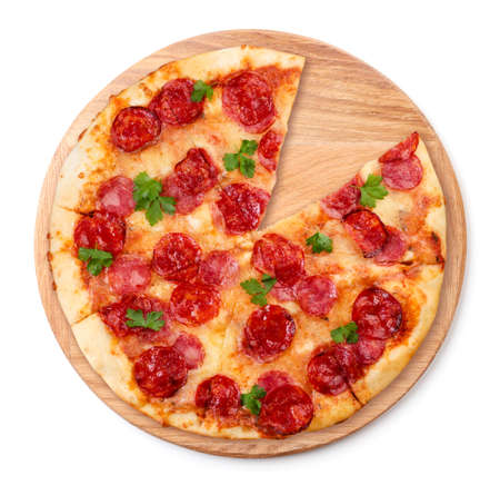 Round pizza with salami and mozzarella on a kitchen pizza board close-up on a white background, isolated.