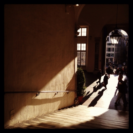 genoa: Shadow in Palazzo Ducale in Genoa Stock Photo