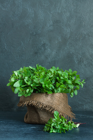 sheaf: Brown pot and sheaf of mint with sackcloth on gray background Stock Photo
