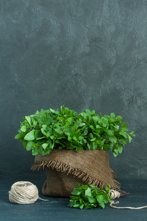 sheaf: Brown pot, sheaf of mint and skein of twine on gray background Stock Photo