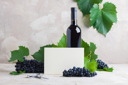 Bottle of red wine mockup for your logotype, white paper card for text, copyspace. Red grapes,    green leaves, corkscrew on beige background. Concept wine brand, sommelier business card    mockup. Stok Fotoğraf