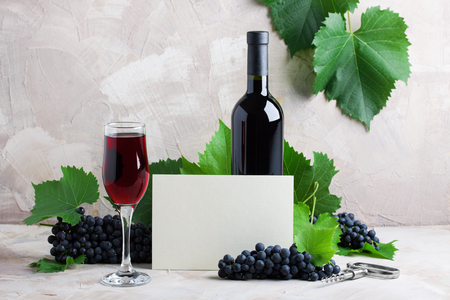 White empty card wine mock up  Two glasses of red wine, grape, green,leaves, corkscrew on beige background. Stok Fotoğraf
