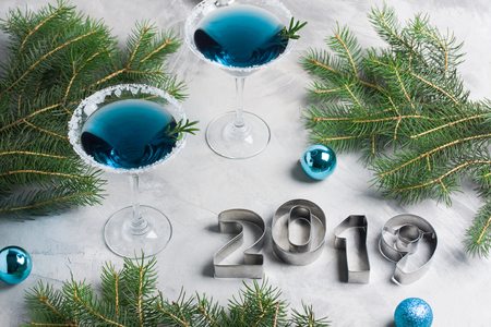 New year composition 2019 letters, martini drinks with rosemary and sugar decoration, fir-trees, 