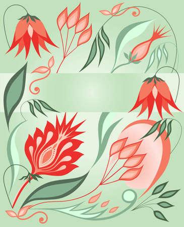 blumen abstrakt: Bunte Blumen abstrakte Muster auf einem gr�nen Hintergrund.