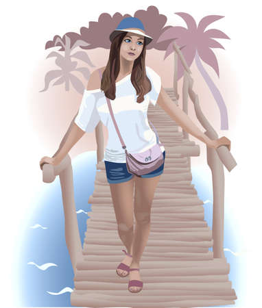 wave tourist: Illustration of The Beautiful girl on the the beach
