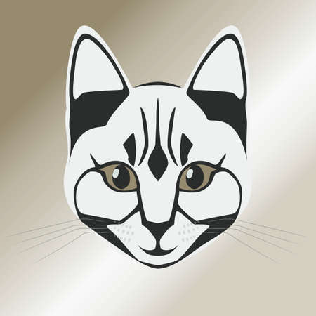 animal nose: Vector illustration of silhouette of cats head on a light background.