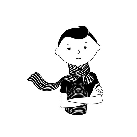 Comic style Vector illustration. Sick / Depressed person holding a hot water bottle and wearing a striped scarf.