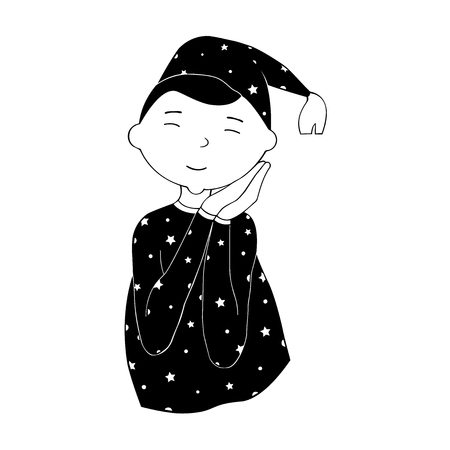 Comic style Vector Illustration. Young Person, Sleeping on Hands and wearing a Pajama and a Night Cap. 矢量图像