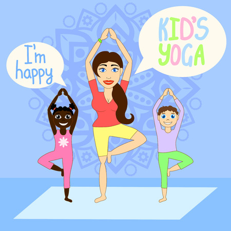 the instructor: Kids yoga with Instructor.