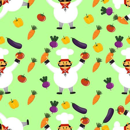 Pattern with chef and vagetables. Illusztráció