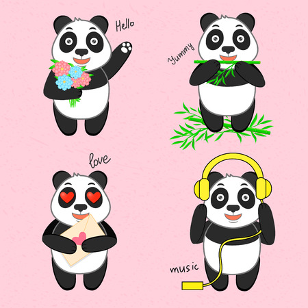 eats: Funny Panda in four variants, bamboo, music, flowers, love Illustration